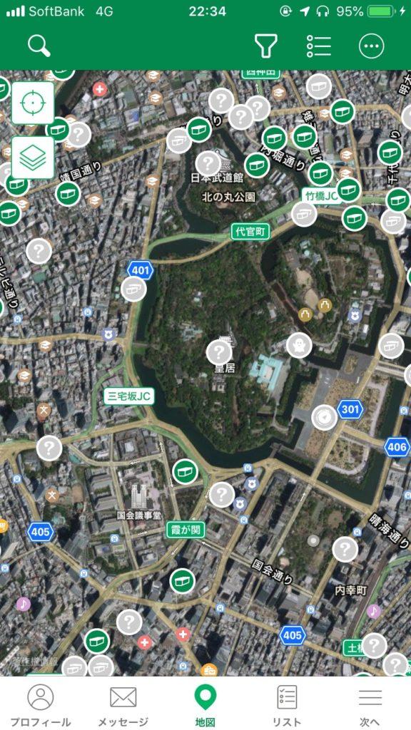 アプリの地図